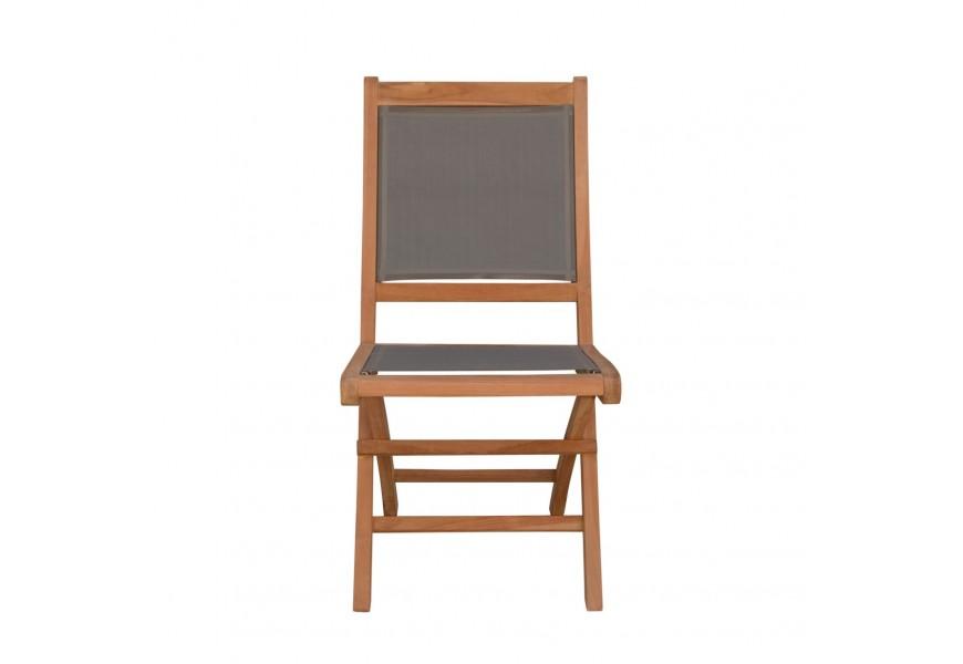 Štýlová záhradná skladacia stolička Jardin z masívneho teakového dreva so sivým poťahom