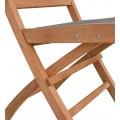 Masívna záhradná stolička Jardin z teakového dreva so sivým poťahom 90cm