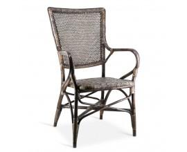 Vidiecka štýlová stolička Rattan z prírodného ratanového dreva v sivej farbe s podrúčkami 100cm