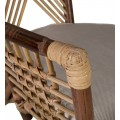 Koloniálne štýlové kreslo Rattan v hnedej farbe z ratanového dreva s podrúčkami a pohodlným vankúšikom 85cm