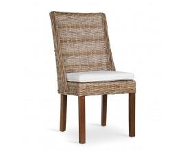 Koloniálna stolička Rattan v hnedej farbe s nohami z masívu 96cm