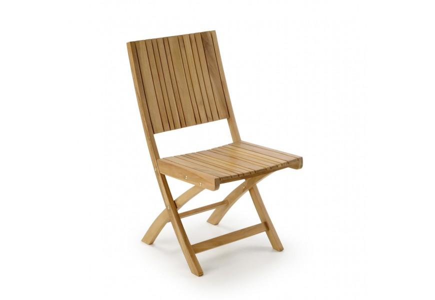 Dizajnová stolička z teakového dreva Jardin s operadlami