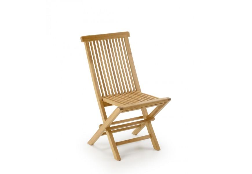Štýlová záhradná skladacia stolička z teakového dreva Jardin