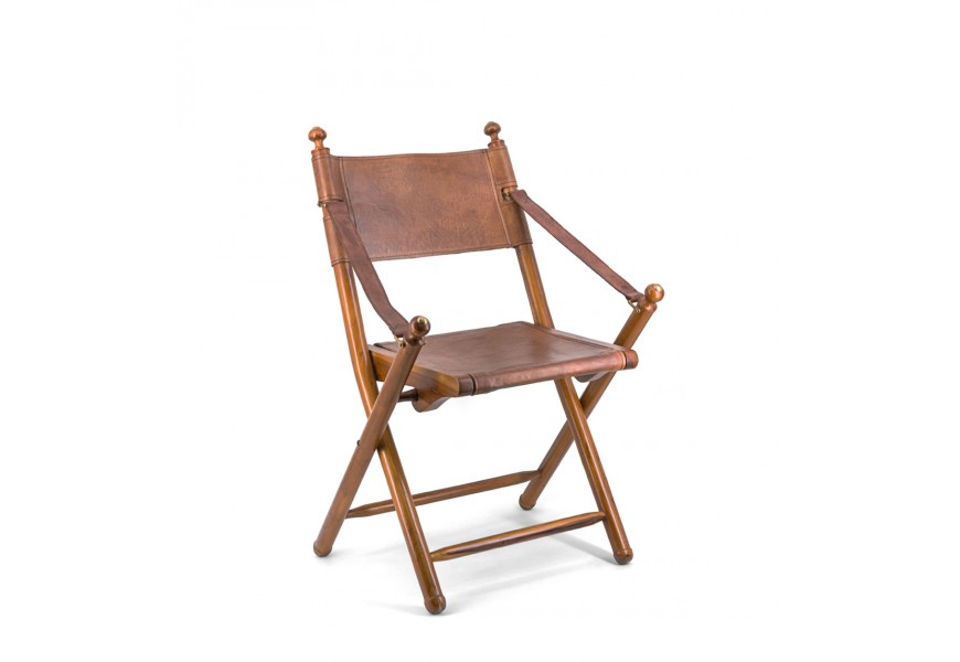 Luxusná skladacia stolička Tarlton z kože a dreva Poly piel
