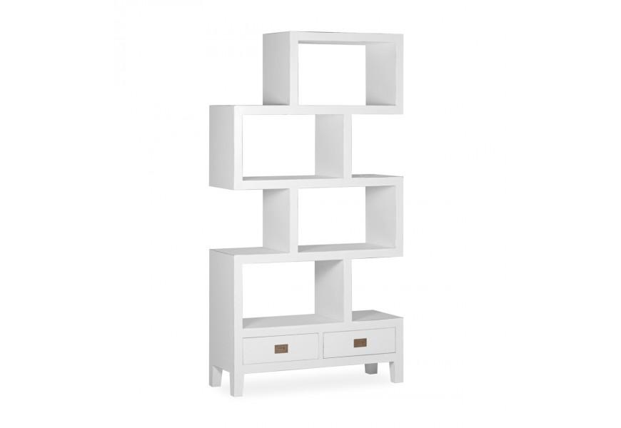 Luxusná dizajnová knižnica Blanc z masívneho dreva mindi v bielej farbe so štyrmi poličkami a dvomi zásuvkami