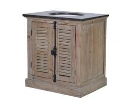 Vidiecka drevená umývadlová skrinka s dvierkami sivá 79cm