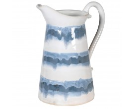 Vidiecky štýlový keramický džbán Limoges bielo-modrý 28cm