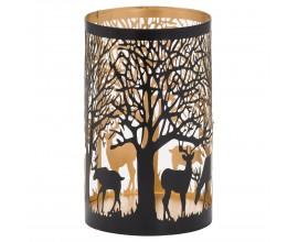 Jedinečný dekoratívny čierno-zlatý lampáš Torbeo I s vyrezávaným lesným motívom 20cm