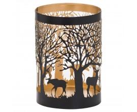 Dizajnový dekoratívny čierno-zlatý lampáš Torbeo II s vyrezávaným lesným motívom 13cm