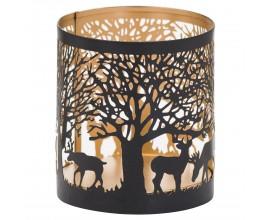 Dizajnový dekoratívny čierno-zlatý lampáš Torbeo III s vyrezávaným lesným motívom 10cm
