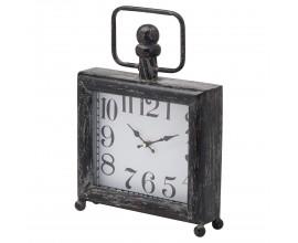Retro štýlové hodiny Neiras I štvorcového tvaru v čiernej farbe na guľatých nožičkách 38cm