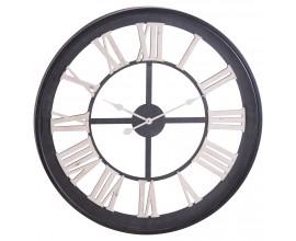 Industriálne okrúhle nástenné hodiny Linarán s čiernym rámom 80cm