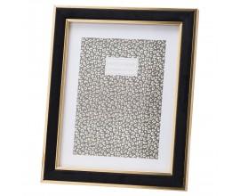Art-deco luxusný zamatový fotorámik Bolmente v čiernej farbe so zlatým prvkom 8x10