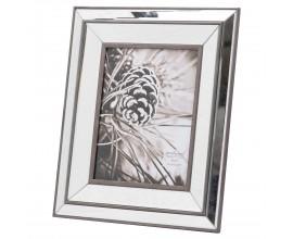 Dizajnový obdĺžnikový fotorámik Belfry v art-deco štýle so zrkadlovým efektom a dreveným okrajom