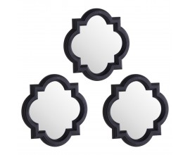 Orientálny set troch nástenných zrkadiel Mosteiro s čiernym rámom