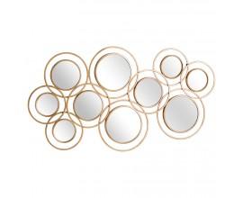 Art-deco set kruhových závesných zrkadiel Redondel so zlatým kovovým rámom