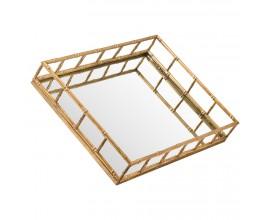 Dizajnový art-deco set dvoch zrkadlových podnosov Trasulfa so zlatou konštrukciou z kovu