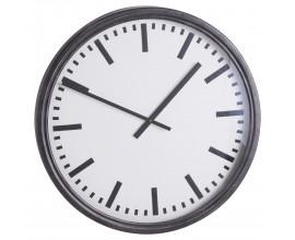 Retro nástenné hodiny Ceides s čiernym kovovým rámom a ciferníkom 80cm