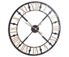 Industriálne nástenné hodiny Anllo kruhového tvaru v čierno-zlatej farbe 95cm