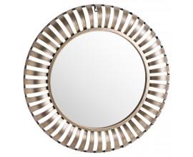 Art-deco dizajnové kruhové zrkadlo Argozon s členitým zlatým rámom 72cm