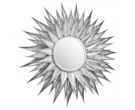 Art-deco dizajnové zrkadlo Solle so strieborným kovovým rámom v tvare lúčov 90cm