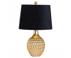 Art-deco dizajnová stolná lampa Bermui so zlatou konštrukciou a čiernym tienidlom 57cm