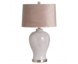 Dizajnová keramická stolná lampa Caneta s  jemnou glazúrou a béžovým tienidlom 73cm
