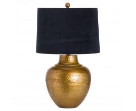 Dizajnová stolná lampa Lagrima s bronzovým  reliéfnym podstavcom a čiernym tienidlom 66cm