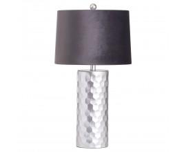 Art-deco lampa Alminar I so strieborným reliéfnym podstavcom a čiernym zamatovým tienidlom 62cm