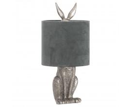 Dizajnová stolná lampa Jarrona Silver s podstavcom v tvare králika  a s čiernym tienidlom 50cm