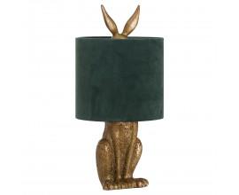 Dizajnová stolná lampa Jarrona Gold s podstavcom v tvare králika a so zeleným tienidlom 50cm