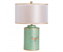 Retro štýlová tyrkysová stolná lampa Fachas Verdura s bledým tienidlom a včelým motívom so zlatými detailmi 45cm