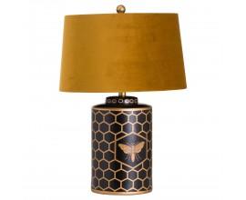 Art-deco dizajnová čierna stolná lampa Abejo s tienidlom horčicovej farby