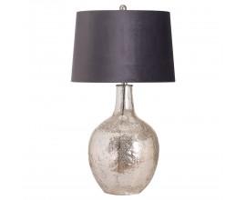 Štýlová strieborná keramická stolná lampa Concento so šedým zamatovým tienidlom 78cm