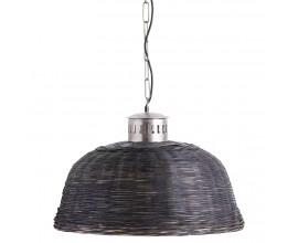 Vidiecka dizajnová závesná lampa Xuanzo s prúteným tienidlom 61cm