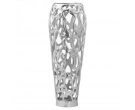 Moderná nadčasová vysoká kovová váza Polipero III striebornej farby 63cm