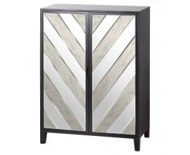 Art-deco luxusná zrkadlová barová skrinka Farian čiernej farby 150cm