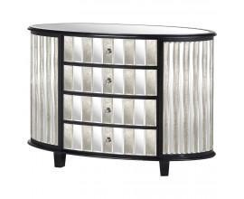 Art-deco luxusná zrkadlová oválna komoda Farian čiernej farby so zásuvkami 120cm