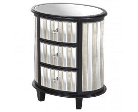 Art-deco dizajnový zrkadlový oválny príručný stolík Farian z borovicového dreva s tromi zásuvkami 73cm