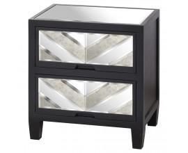 Art-deco dizajnový štvorcový nočný stolík Farian z borovicového dreva so zrkadlovým povrchom 60cm
