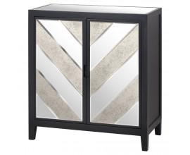 Art-deco luxusná zrkadlová skrinka Farian z čierneho borovicového masívu 100cm