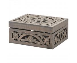Orientálna vkusná drevená šperkovnica Tanxil I s vyrezávaným vzorom  28cm