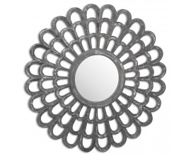 Vintage kruhové závesné zrkadlo Confurco s hrubým sivým rámom v tvare lupienkov 90cm