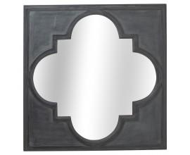 Orientálne sivé nástenné zrkadlo Gouxa s ornamentálnym štvorcovým rámom 90cm