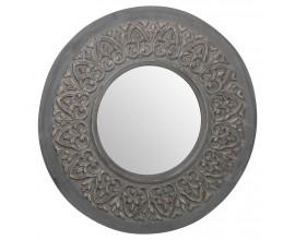 Vintage kruhové nástenné zrkadlo Edeira s veľkým vzorovaným rámom v sivej farbe 90cm