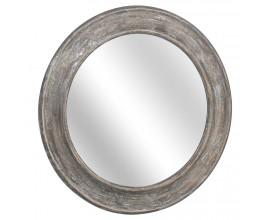 Vintage kruhové nástenné zrkadlo Belell so šedým masívnym rámom 76cm