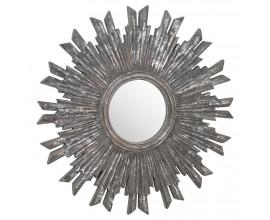 Vintage kruhové nástenné zrkadlo Maya s hrubým rámom v sivej farbe 60cm