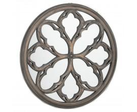 Orientálne kruhové nástenné zrkadlo Chiribita s ornamentálnym dreveným rámom 60cm