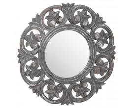 Vintage kruhové nástenné zrkadlo Donramiro v hrubom sivom ornamentálnom ráme 60cm