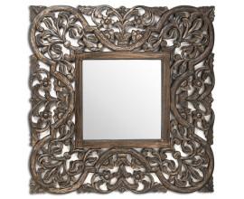 Orientálne štvorcové závesné zrkadlo Primavera so šedohnedým dreveným rámom 90cm